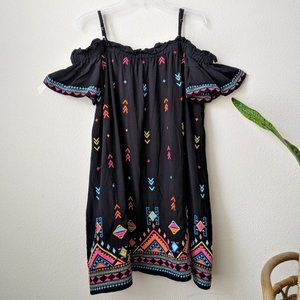 Double D Ranch Black Colorful Aztec Embroidery